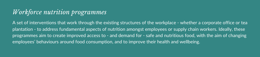 Definition of workforce nutrition programmes